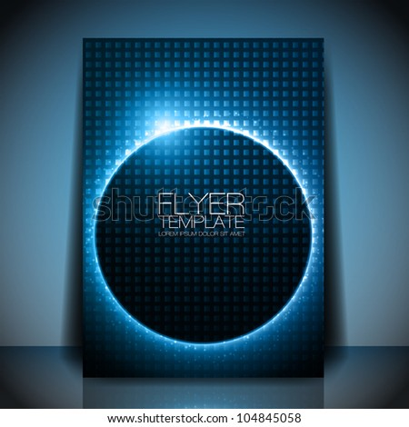 Abstract Vector Flyer Template - Blue Shiny Circle behind Dark Design - stock vector