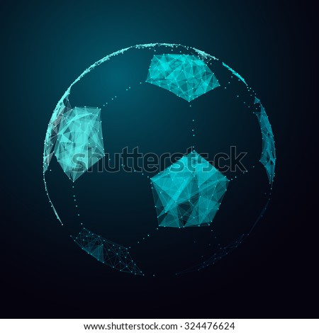 Abstract vector football ball. Futuristic technology wireframe mesh polygonal element. Connection Structure. Geometric Modern Technology Concept. Digital Data Visualization. Soccer Graphic Concept - stock vector