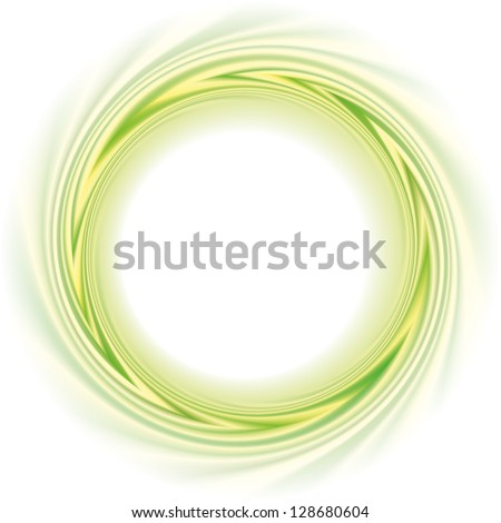 Abstract vector frame. Light green and yellow stripes curled in a circular motion - stock vector