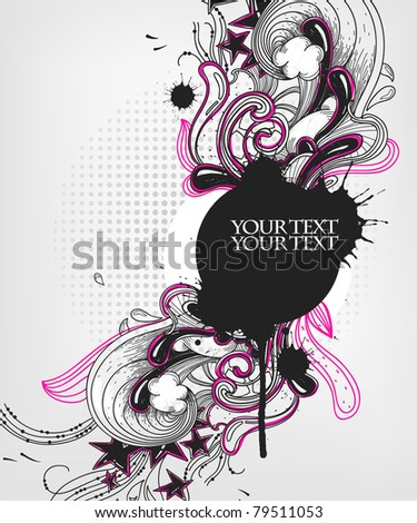 abstract vector frame with fantasy plants and waves - stock vector