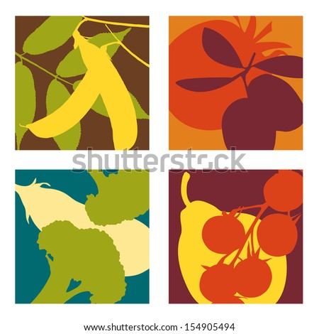 abstract vector fruit and vegetable designs set 3 - stock vector