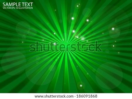 Abstract vector green burst background illustration - Vector green blast in space illustration - stock vector