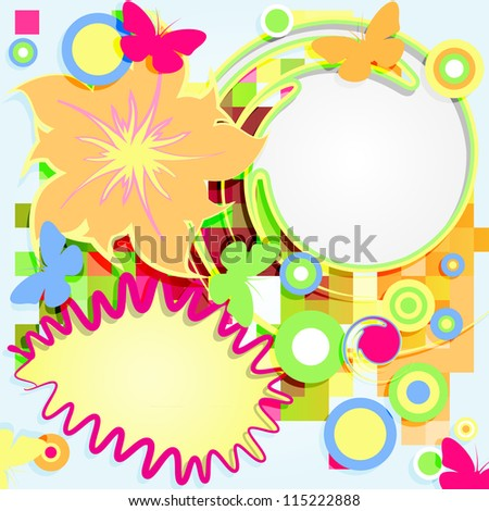 Abstract vector  grunge flower theme with circles and butterflies.