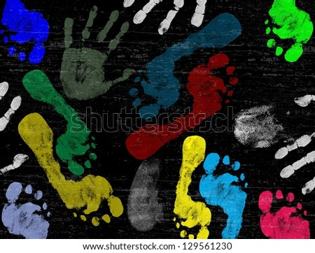 Abstract vector hand and foot prints on black grunge background, vector illustration