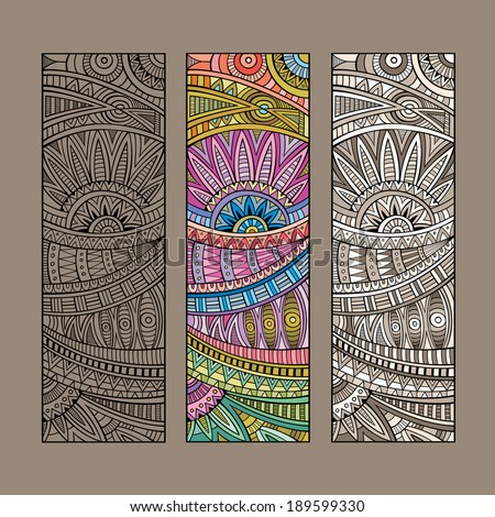 Abstract vector hand drawn vintage ethnic pattern card set. - stock vector