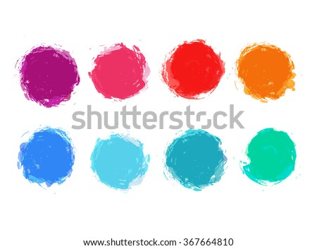 Abstract vector hand painted stain set - stock vector