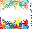 abstract vector hand prints background - stock