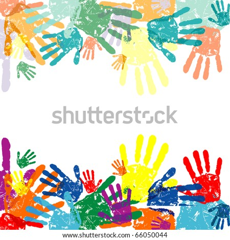 abstract vector hand prints background - stock vector