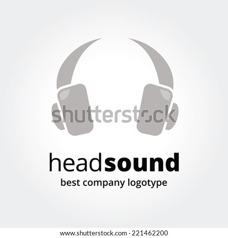Abstract vector  head phones logotype concept isolated on white background. Key ideas is business, music, headphones, communication, talk, studio. Concept for corporate identity and branding - stock vector