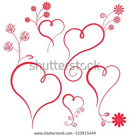 Abstract vector heart with flowers. Element for design.