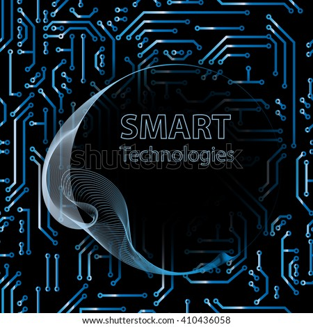 Abstract vector hi-tech background, web-site header or banner on seamless editable circuit pattern. Communication hi-tech technology backdrop concept.  Information technology logo for your design - stock vector