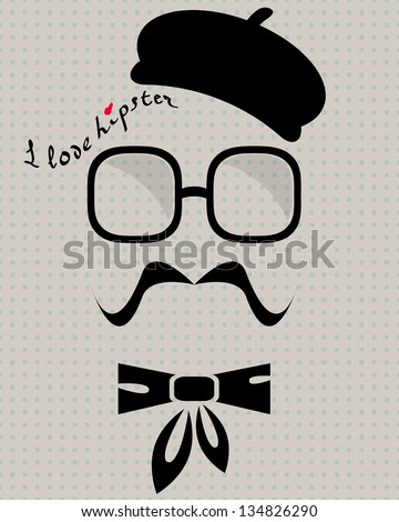 abstract vector hipster silhouette with beret, sunglasses, mustache and cravat on the vintage polka dot background - stock vector