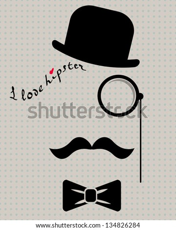 abstract vector hipster silhouette with bowler hat, monocle, mustache and bow tie on the vintage polka dot background - stock vector