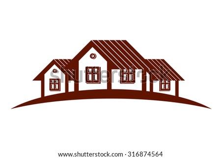 Abstract vector houses with horizon line. Can be used in advertising. Cottages front view, home illustration.