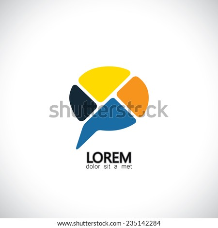 abstract vector icon for communication, people speaking, consensus. This colorful graphic can also represent chat symbol for different opinions, dialogues, discussions, ideas - stock vector