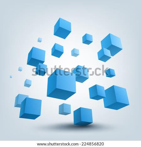 Abstract vector Illustration. Composition of 3d cubes. Background design for banner, poster, flyer, cover, brochure. - stock vector