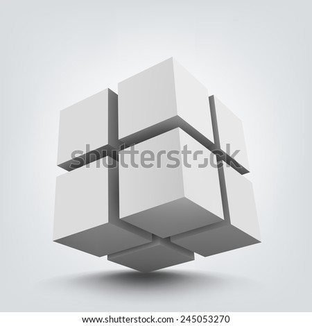 Abstract vector Illustration. Composition of 3d cubes. Background design for banner, poster, flyer, card, postcard, cover, brochure. Logo design. - stock vector