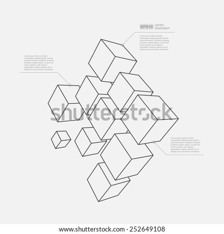 Abstract vector Illustration. Composition of 3d cubes. Background design for banner, poster, flyer, card, cover, brochure. Logo design. - stock vector