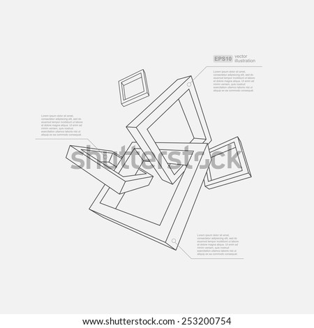 Abstract vector Illustration. Composition of 3d shapes. Background design for banner, poster, flyer, card, cover, brochure. Logo design. - stock vector