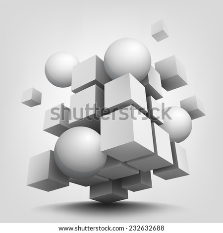 Abstract vector Illustration. Composition with 3d cubes and spheres. Background design for banner, poster, flyer, card, postcard, cover, brochure. - stock vector