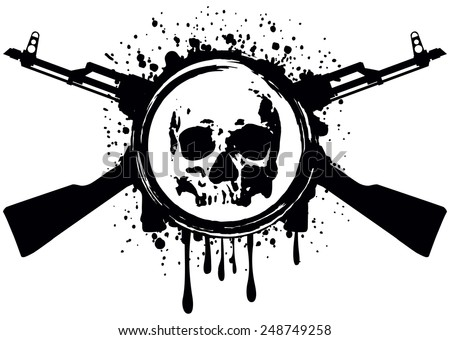 Abstract vector illustration crossed automatic rifles and skull - stock vector