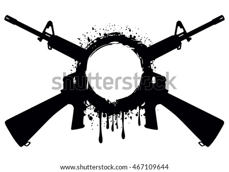 Abstract vector illustration crossed two submachine gun m 16 and grunge frame