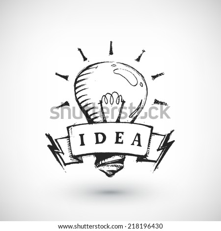 Abstract vector Illustration. Hand drawn banner with light bulb and place for text. Background design. Stylized design element. - stock vector