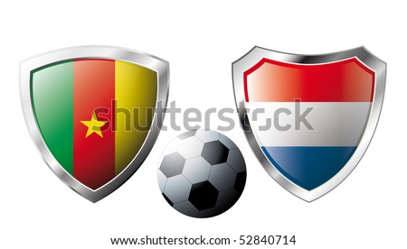 Abstract vector illustration isolated on white background. Shiny football shield of national flag.