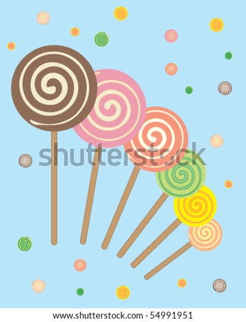 abstract vector illustration lollipops on a blue background - stock vector