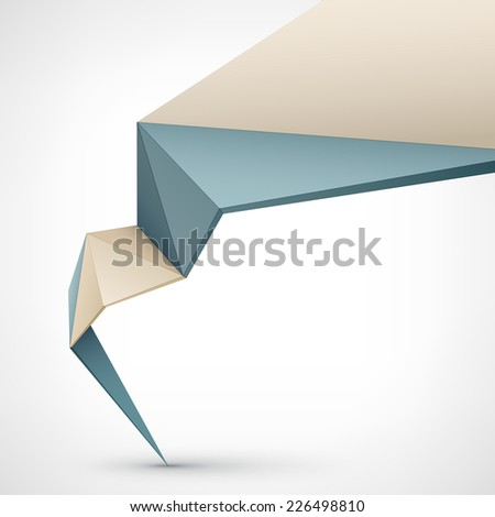 Abstract vector Illustration, low poly style. Background design with 3d shape. Stylized design element for banner, poster, flyer, cover, brochure.