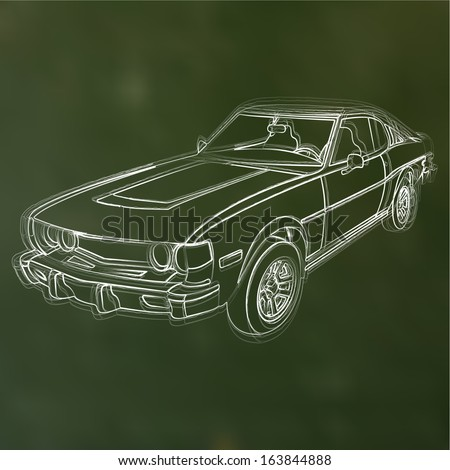 Abstract vector illustration of a chalk sketched car - stock vector
