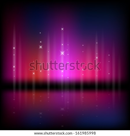 Abstract vector illustration of a northern light type sky - stock vector