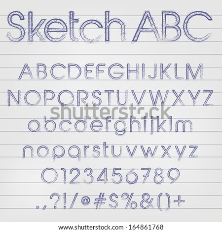 Abstract vector illustration of a sketched alphabet in blue ink - stock vector