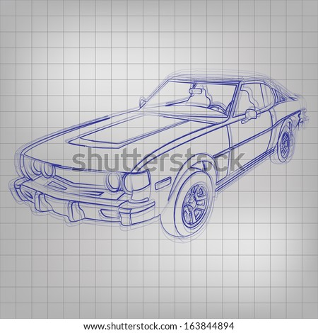 Abstract vector illustration of a sketched car in blue ink