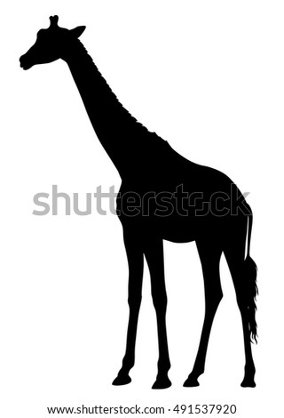 Abstract vector illustration of an giraffe silhouette. The tail of the giraffe is a separate element and can be moved to different locations