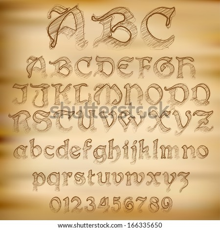 Abstract vector illustration of an old sketched alphabet - stock vector