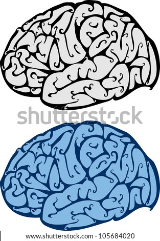 abstract vector illustration of brain - stock vector