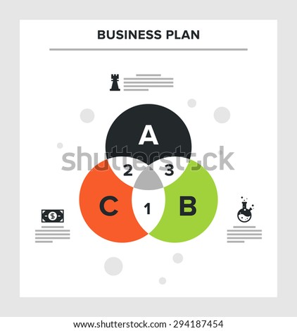 Abstract vector illustration of business plan flat infographic concept. - stock vector