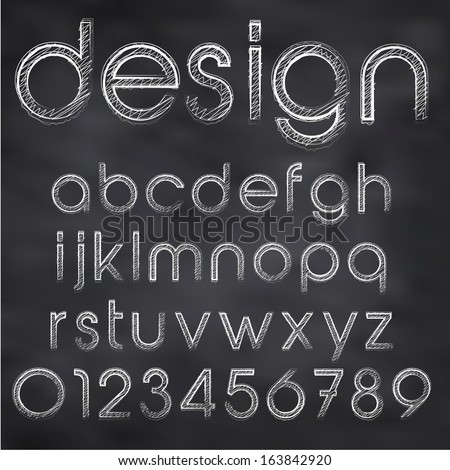 Abstract vector illustration of chalk sketched font on blackboard