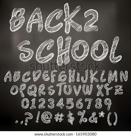 Abstract vector illustration of chalk sketched letters - stock vector