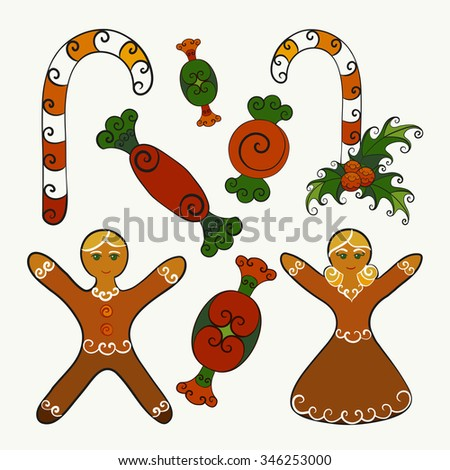 Abstract vector illustration of Christmas desserts - candy canes with mistletoe, sweets, gingerbread men (boy and girl). Hand-drawn object set. Isolated on a whitish  background. Eps 8. - stock vector