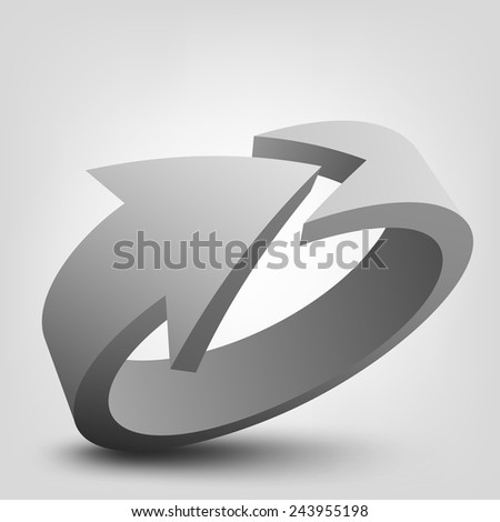 Abstract vector illustration of 3d arrow, logo design - stock vector