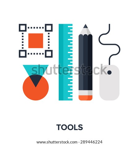 Abstract vector illustration of design tools flat concept. - stock vector