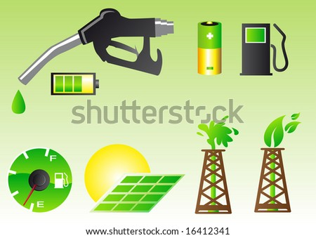 Abstract vector illustration of green energy symbols