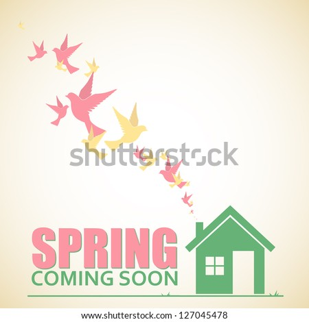 Abstract vector illustration of house and birds. - stock vector