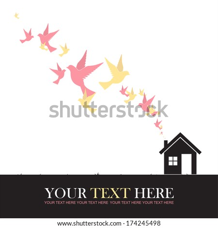 Abstract vector illustration of house and birds.