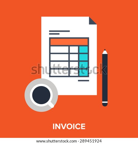 Abstract vector illustration of invoice flat design concept.