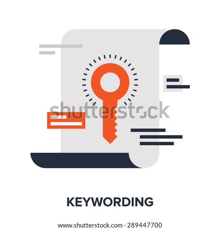 Abstract vector illustration of keywording flat design concept. - stock vector