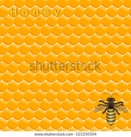 Abstract vector illustration of logo for bee and honey