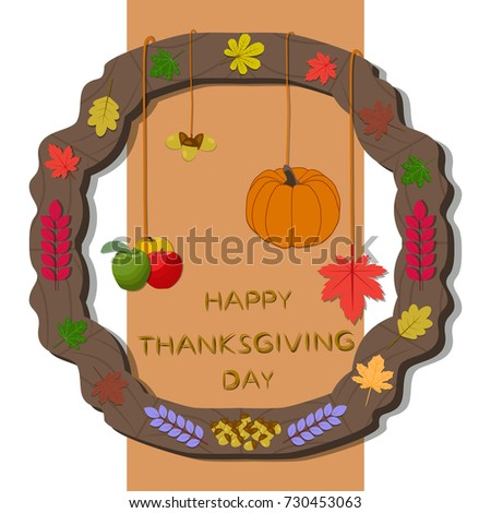 Abstract vector illustration of logo for celebrating holiday happy thanksgiving, autumn leaves falling from the trees poster background. Thanksgiving pattern consisting of pumpkin.Happy thanksgivings.